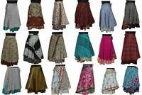 Vintage Silk Sari Recycled Magic Wrap Around Skirt Reversible Women Dress
