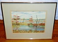 Framed Watercolor Painting - Bombay Hook In Autumn - Ruth Elsasser New Castle DE
