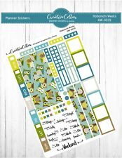 Hw-0039 Planner Stickers Hobonichi Weeks Owls Green Teal Colors