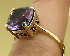 R224 Genuine Solid 9K Yellow Gold Natural Amethyst Cushion Solitaire Ring size M