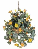 Nearly Natural 6025 Nasturtium Silk Hanging Basket- Multicolored NEW