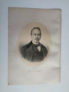 1867 Litografía Retrato Oval: Vicente Boix Ricarte, Játiva Valencia escritor