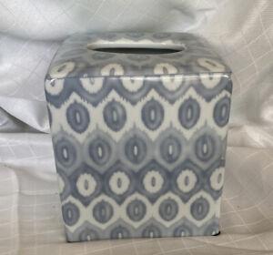 Williams-Sonoma Gray & White Ceramic Tissue Holder Square Box Cover Case