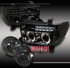 07-13 TOYOTA TUNDRA/08-15 SEQUOIA HALO LED SMOKE PROJECTOR HEAD LIGHT+FOG BUMPER