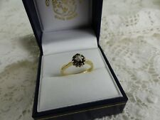 18ct Yellow Gold Sapphire & Diamond Cluster Ring Size L