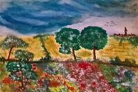 Unikat Mooseart Gemälde Zeichnung Skizze Aquarell Landschaft ca.30x40cm Original