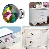 10pcs 30mm Crystal Glass Cupboard Cabinet Wardrobe Knobs Drawer Door Handle Pull