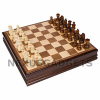 Cava Chess LARGE 15 Inch Game Set Weighted Pieces WALNUT Inlaid Wood Board, New
