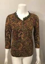 Stunning Jones New York Petite Burgundy Yellow Paisley Floral Knit Top Size PS