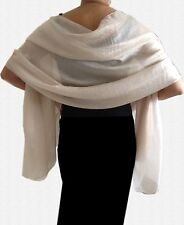 Silky Lightweight IVORY CREAM Shimmer WEDDING Pashmina Shawl Wrap Scarf 20% SILK