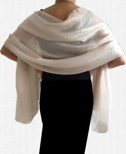 Silky Lightweight IVORY CREAM Shimmer WEDDING Pashmina Shawl Wrap Scarf
