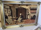 Antique Guilt Framed Tapestry with Amish Scene from France Early 1900's