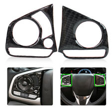 2x Car Carbon Fiber Steering Wheel Button Sticker Trim Fit For Honda Civic 2016