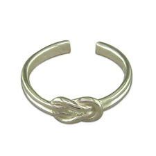Reef Knot Toe Ring Solid 925 Sterling Silver Plain