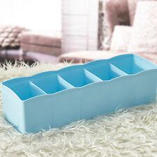 5 Cells Plastic Organizer Storage Box Tie Bra Socks Drawer Cosmetic Divider BU