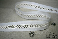 """14Yds Broderie Anglaise eyelet lace trim 0.7"""" ivory YH875 laceking2013"""
