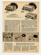 1959 AD MOTOROLA CAR RADIOS TRANSISTOR, MANUAL TUNING, SPEAKERS, AUTO SNAC PAC