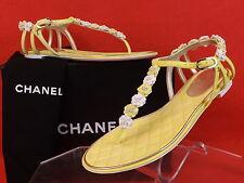 NIB CHANEL YELLOW PEARLS FLOWERS LEATHER CC LOGO THONG FLATS SANDALS 37.5 $1K