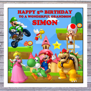 KIDS MARIO BIRTHDAY CARDS - personalised with any AGE RELATIONSHIP & NAME