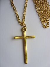 "A Large Gold Tone Cross Charm (48*30mm) Pendant, Long ( 30"" ) Chain Necklace"