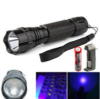 3W UV LED 395NM Ultra Violet Blacklight Flashlight Torch+18650 Battery+Charger