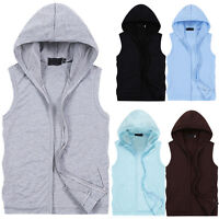 Sport Mens Casual Hoodie Sleeveless Zip Jacket Vest Waistcoat Tops Hooded tanks