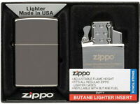 Zippo Lighter & Butane Torch Insert Black Ice 2pc Gift Set Made In The USA 13759