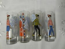 Tall Shot Glasses x 4  Where's Wally Scenes and Characters