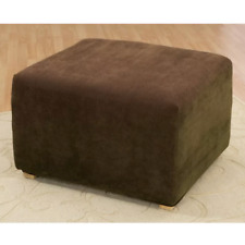 Sure Fit Stretch pique waffle weave Ottoman Slipcover Chocolate brown NEW