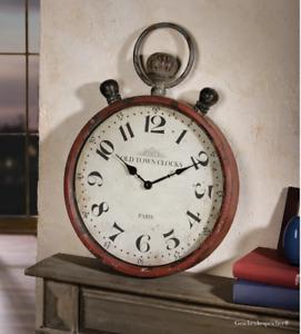 Wanduhr Taschenuhr Old Town Clock Nostalgie Uhr Metall Rot Grau Ø 35 Höhe 50 cm
