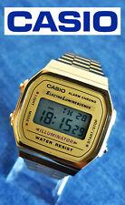 Gold tone Casio A168 Illuminator mod. 1572 men's quartz digital wristwatch brace