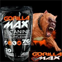 Gorilla Max Muscle Supplement Dogs Bully Protein 30 & 60 Servings Canine Builder