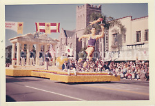 Rose Parade Float FOUND PHOTO Color FREE SHIPPING Olympics Theme VINTAGE 754