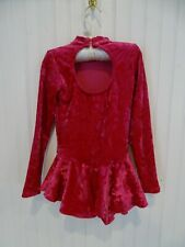 Body Wrappers Magenta Pink Velvet Figure Ice Skating Dress Costume girls 6x-7