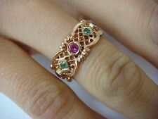 ! GORGEOUS 14K ROSE GOLD WITH EMERALDS AND RUBIES FILIGREE ETERNITY RING, SIZE 7