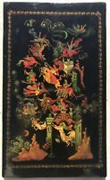 """Vintage Russian Lacquer Hand Painted Plaque Panel Signed 12"""" x 7"""""""