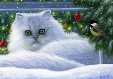 White persian cat chickadee window Christmas tree limited edition aceo print art