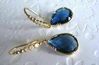 2.50 Ct Pear Cut Sapphire & Diamond Drop Dangle Earring 14K Yellow Gold Over