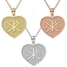 Yellow White Rose Gold Christian Symbol Chi Rho Heart Shape Pendant Necklace