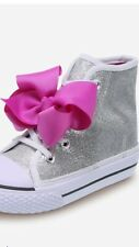Jojo Siwa Legacee Sneaker 1 1/2, & 2 Silver Pink Bows Hard To Find Nib