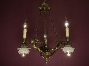 """SWEAT 6 LIGHT BRASS CHERUBS ART NOUVEAU LAMP CHANDELIER OLD GLASS BRONZE Ø 18"""""""