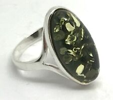 Green amber oval ring, solid Sterling Silver, real Baltic amber, new, UK seller.
