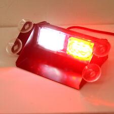 Red / White Emergency Hazard Warning Dash Windshield 6 LED Strobe Light Bar