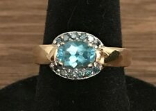 Neon Blue Apatite .75 Carat and Blue Diamond 14k Solid Gold Ring, Size 6
