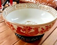 """Vintage Japanese Gold Imari 11"""" Bowl Footed Intricate Hand Painted Ceramic"""