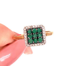 0.50ct Emerald and Diamond Right-Hand Ring in 10k Yellow Gold
