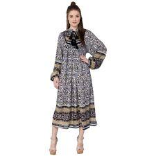 jaipur india karni's black Kerry printed rayon collar neck maxi dress yock dress