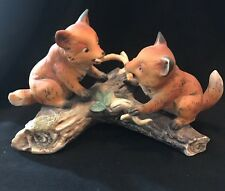 Vintage Two Baby Fox Playing On Log Figurine Homco 1981 Masterpiece Porcelain