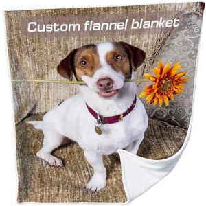 Warm Sofa Bed Fleece Personalized Dog Cat Pet Photo Printed Blanket Custom Throw