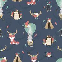 Boho dark animals tipi fox dream-chatter Cotton Printed Fabric,kids Fat quarter